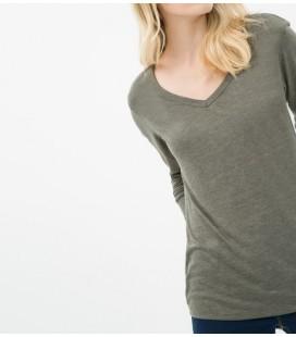 Koton Kadın Haki Bayan V Yaka T-Shirt 6KAK12288YK890