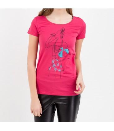 Blue Girl Graphic T-Shirt Dark Pink 163255 13882