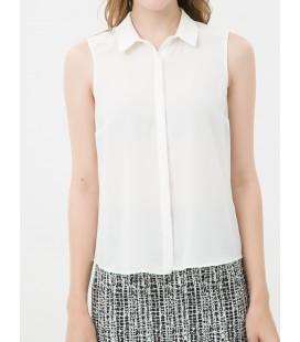 Koton Kadın Kolsuz, Düz Beyaz Gömlek 7KAK62376UW001