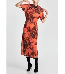 Zara Uzun Baskılı Saten Elbise 5580315050