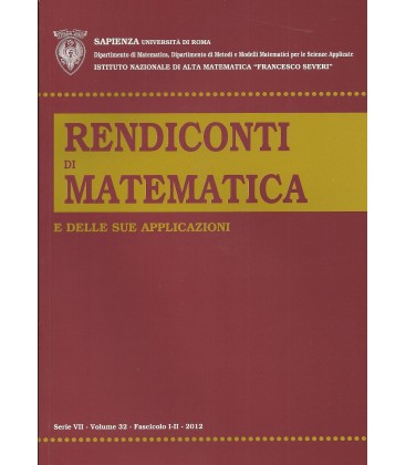 Rendiconti Di Matematica e Delle Sue Applicazioni Ser. VII vol. 37, fasc. I-II