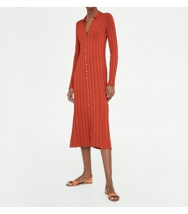 Zara Polo Yaka Fitilli Elbise 5755