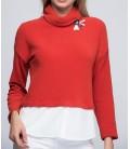 Sateen Kadın Kırmızı Gömlek Detaylı Bluz 135-HB-5519