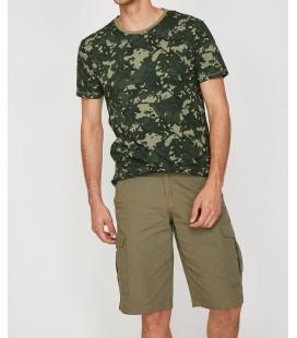 Koton Erkek Yeşil Kısa Kollu Bisiklet Yaka T-Shirt 8YAM11656LK03I
