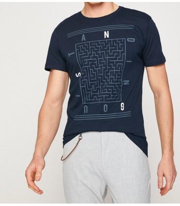 Koton Erkek Lacivert Kısa Kollu Bisiklet Yaka T-Shirt 8YAM11034CK961