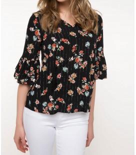 DeFacto Kadın Kol Ucu Volanlı Çiçek Desenli Bluz I6960AZ BK27