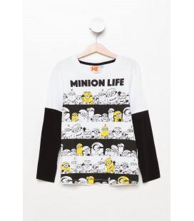 DeFacto Beyaz Minions Lisanslı Erkek Çocuk Kol Çıkartmalı T-Shirt H3935A4 Wt34