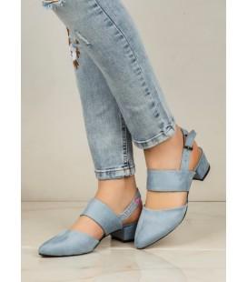 Missmali Süet Bebe Mavi Kısa Topuklu Bantlı Ayakkabı