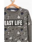 Koton Kids Antrasit Erkek Çocuk Uzun Kollu T-Shirt 8KKB16944TK