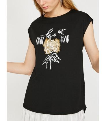 Koton Kadın Baskılı T-Shirt 8YAK33498EK999
