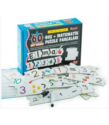 Yaz Sil Boş ve Matematik Puzzle Parçaları (60 Parça)