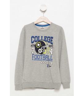 Defacto Gri Renk Değiştiren Baskılı Genç Erkek Sweatshirt H3323A6