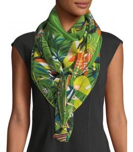 Rumisu Feisty Tropical Baskılı İpek Fular Yeşil