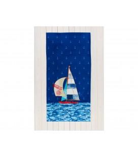 Madame Coco Eglantine Baskılı Kadife Plaj Havlusu Mavi 1KPLJH0047412