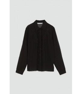 Zara Kadın Dantelli Siyah Bluz 5598 021