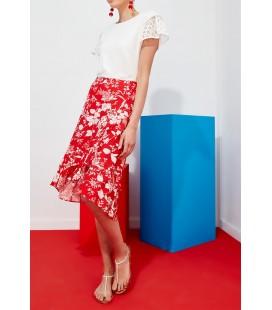 Journey Kadın  Diz Altı Kırmızı Çiçekli Etek 18YETK094