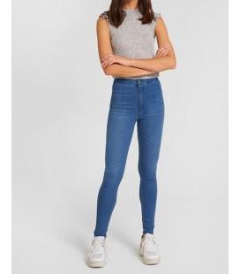 Oxxo Kadın Mavi Yüksek Bel Dar Paça Pamuk Pantolon ALJEG18Y