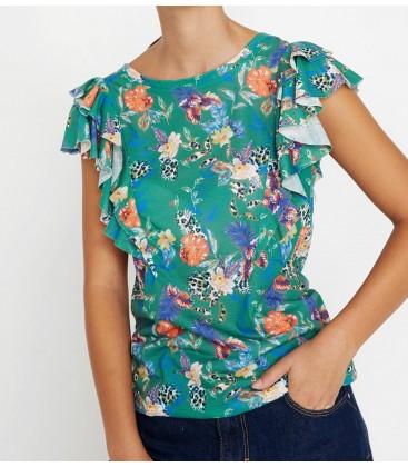 Koton Kadın Yeşil Fırfır Detaylı T-Shirt 8YAL11201JK69U