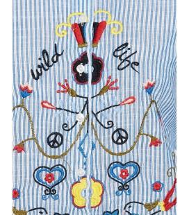 Koton İşlemeli Tunik Mavi Çizgili 7YAL61664JW20L