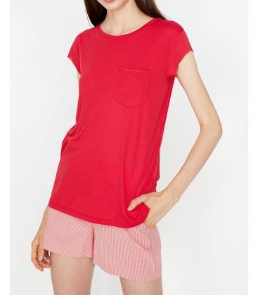 Koton Cep Detaylı T-Shirt Kırmızı 9KAK13050OK401