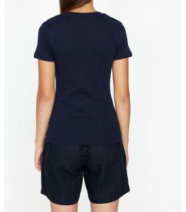 Koton Oyuk Yaka T-Shirt Lacivert 9KTK12085SK715