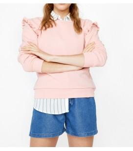 Koton Fırfırlı Sweatshirt Gül 9KAL11112JK273