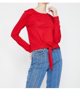 Koton Kadın Bağlama Detaylı T-Shirt Kırmızı 9KAL11181OK425