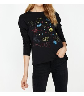 Koton Kadın Yazılı Baskılı T-Shirt Siyah 9KAL11131JK999