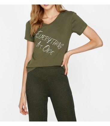 Koton Yazılı Baskılı T-Shirt Haki 9KAL11237JK856