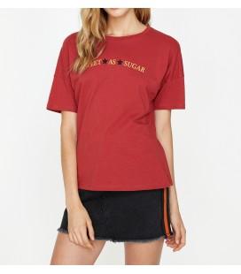 Koton Yazılı Baskılı T-Shirt Çikolata Kahve 9KAL11977JK553