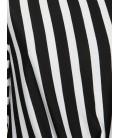 Koton Bağlama Detaylı T-Shirt Siyah Çizgili 9KAL11181OKK02
