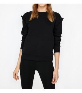 Koton Fırfırlı Sweatshirt Siyah 9KAL11112JK999