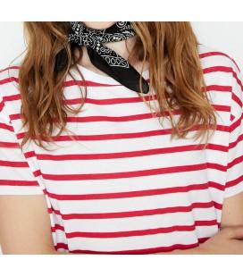 Koton Kadın Kırmızı Çizgi Detaylı T-Shirt 9KAK12083YK11M