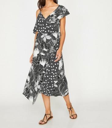 Koton Desenli Elbise Siyah 8YAL81101JW01V