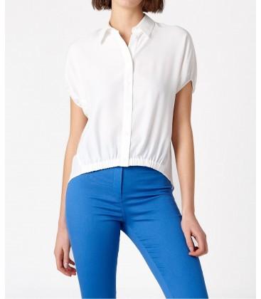 Random Kırık Beyaz Büzgü Detaylı Kısa Kollu Gömlek S8REW012709361