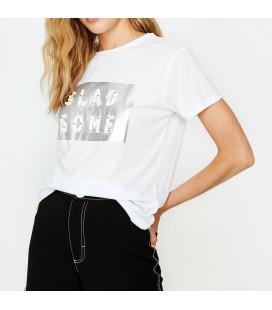 Koton İnci Detaylı T-Shirt Beyaz 9KAK13780EK001