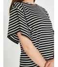 Koton Çizgii T-Shirt Siyah Çizgili 9KAK13520OK91L