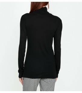 Koton Bayan Bisiklet Yaka T-Shirt Siyah 9KAK13706EK999