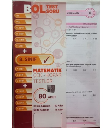 8. Sınıf Matematik Çek Kopar Testler Bol Test Soru 80 Adet