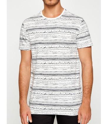 Koton Desenli Erkek T-Shirt Beyaz 7YAM14806OK000