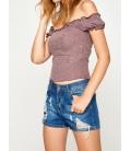 Koton Fırfır Detaylı T-Shirt Koyu Lila 7YAL11061OKO94