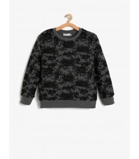 Koton Desenli Sweatshirt Antrasit 9KKB16540TK14D