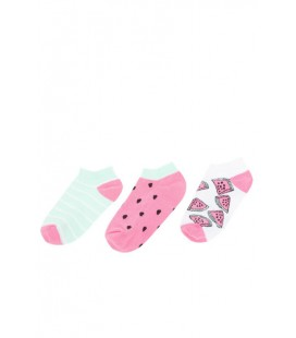 Defacto Karma Kız Çocuk Desenli 3'lü Kısa Çorap J9185A6.18AU.KR1