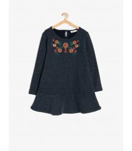 Koton İşlemeli Elbise Lacivert 9KKG87669OKNA1