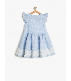 Koton Dantel Detaylı Elbise Lacivert Kareli 7YKG87506AW07W