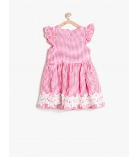 Koton Dantel Detaylı Elbise Gri Kareli 7YKG87506AW03R