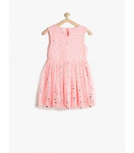Koton Tül Detaylı Elbise Pembe 7YKG87618OKBT4