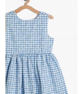 Koton Kız Çocuk Kareli Elbise Mavi 7YKG87310OW03V