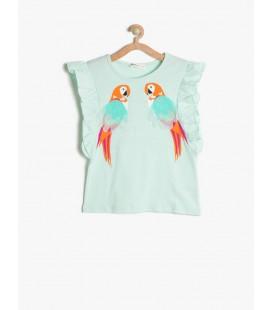Koton Kız Çocuk Tişört 3 Boyutlu T-Shirt Nane Yeşili 7YKG19883OK660