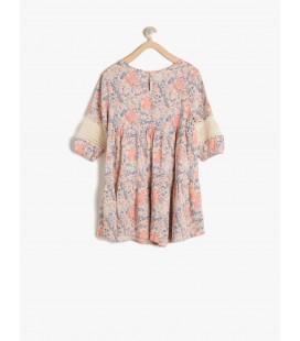 Koton Desenli Elbise Gül 7YKG87331AW01F